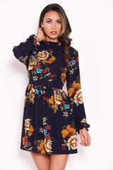 Navy Floral Long Sleeved Frill Detail Dress