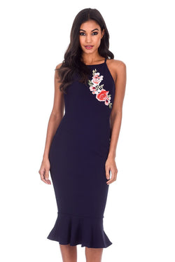 Navy Floral Embroidered Midi Dress