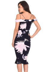 Navy Floral Fishtail Hem Midi Dress