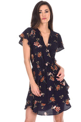 Navy Floral Frill Detail Dress