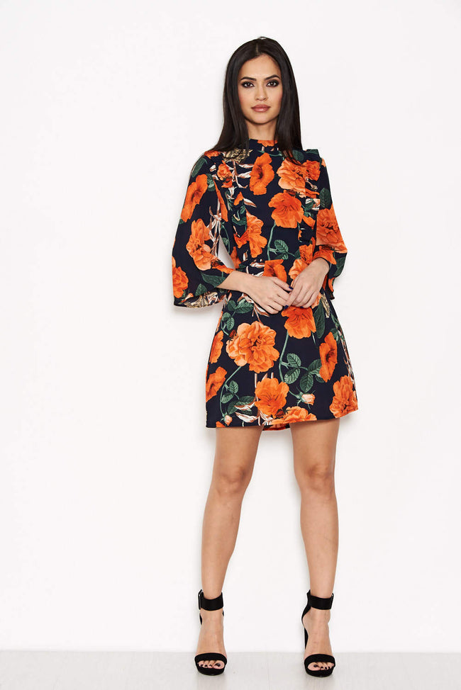 Navy Floral Frill Front Dress