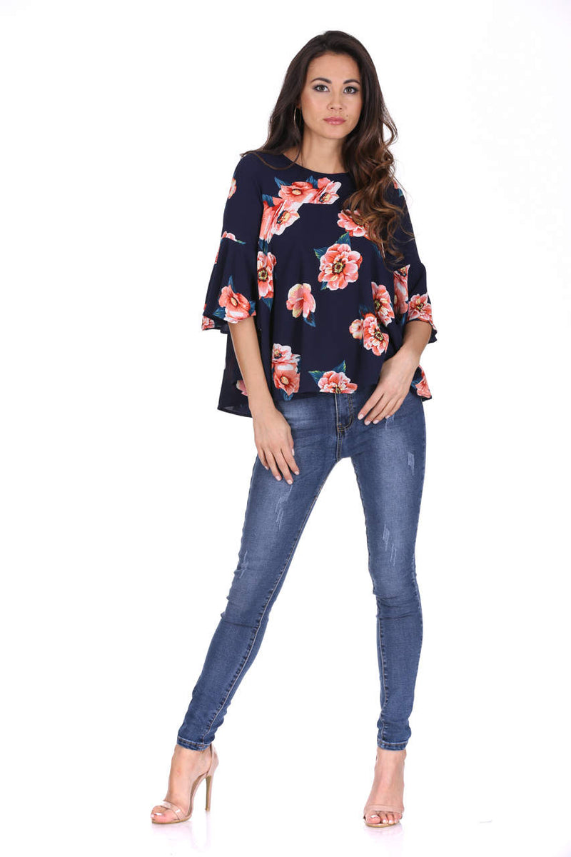 Navy Floral Frilled Sleeved Top