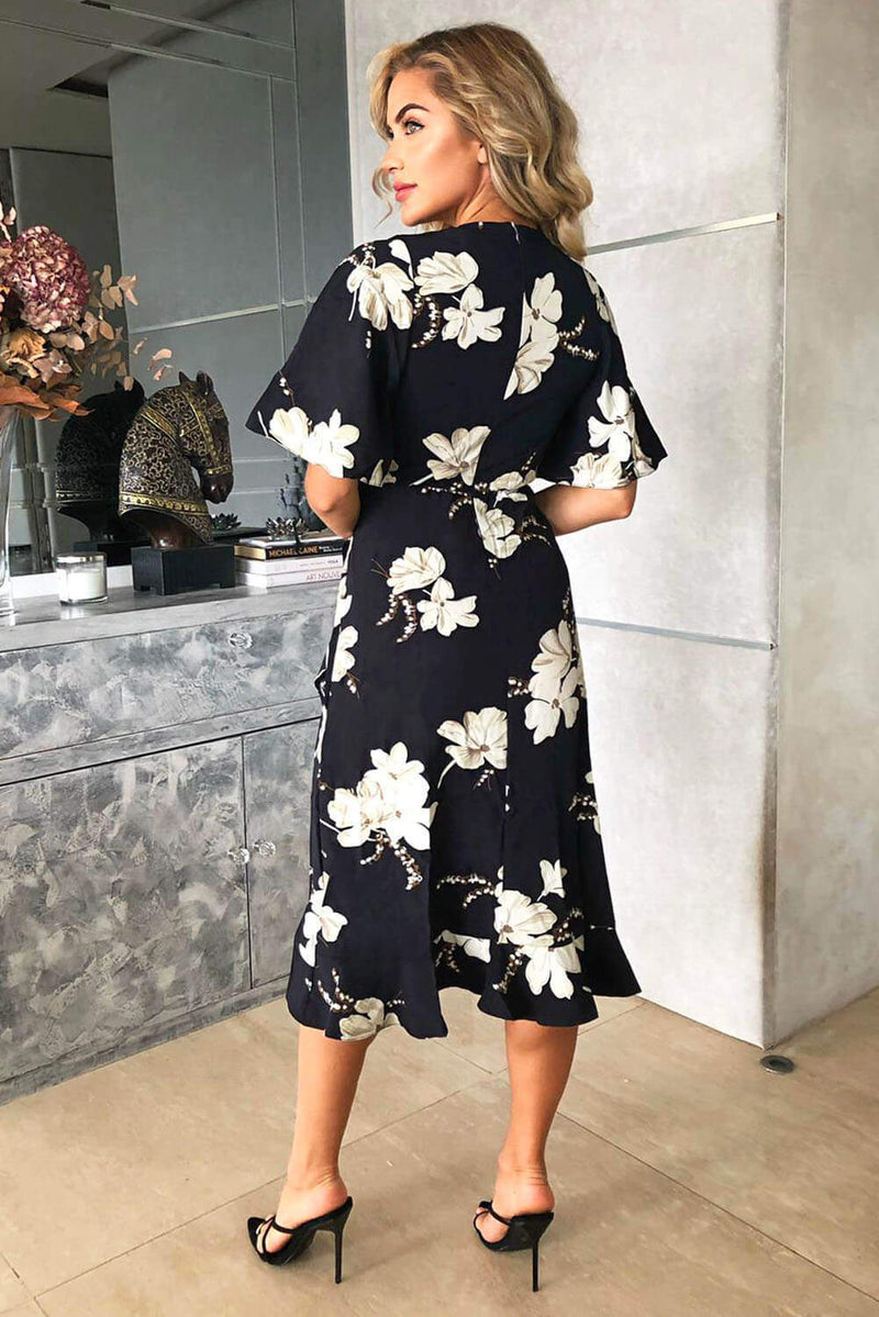 Navy Floral Gathered Frill Midi Dress