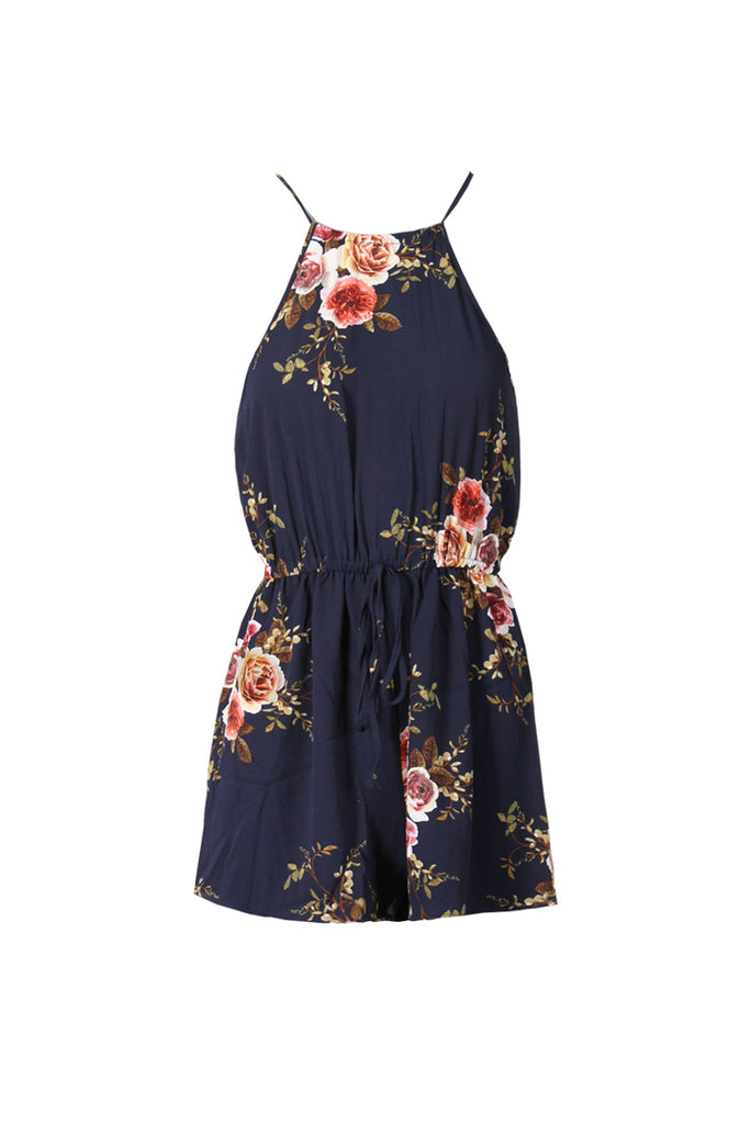 Navy Floral High Neck Playsuit