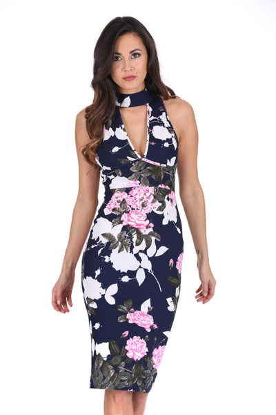 Navy Floral Midi Choker Neck Dress