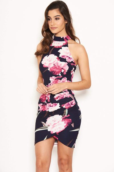 Navy Floral Mini Dress With Ruched Detail