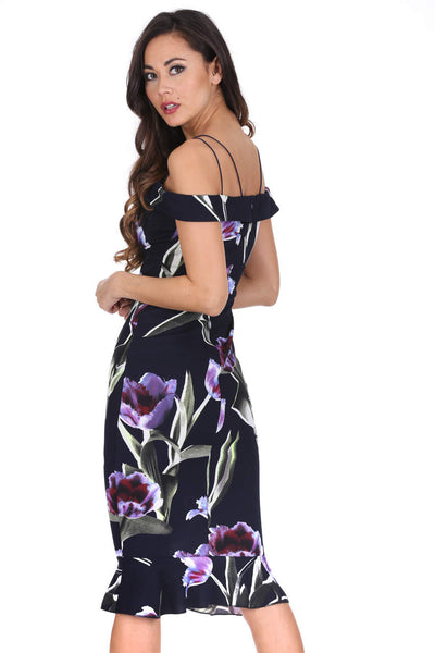Navy Floral Off The Shoulder Midi Fishtail Dress