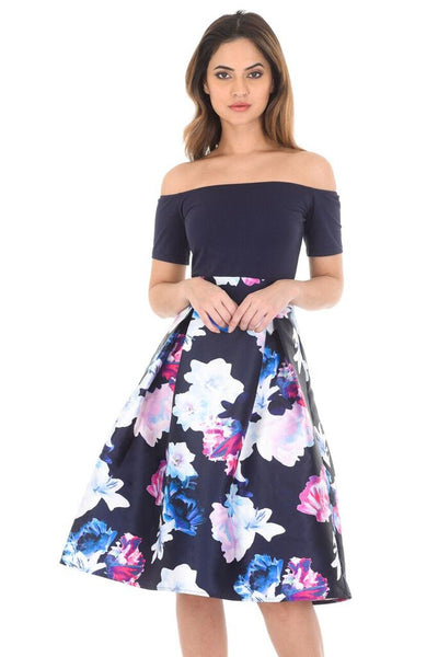 Navy Floral Off The Shoulder Printed Dress