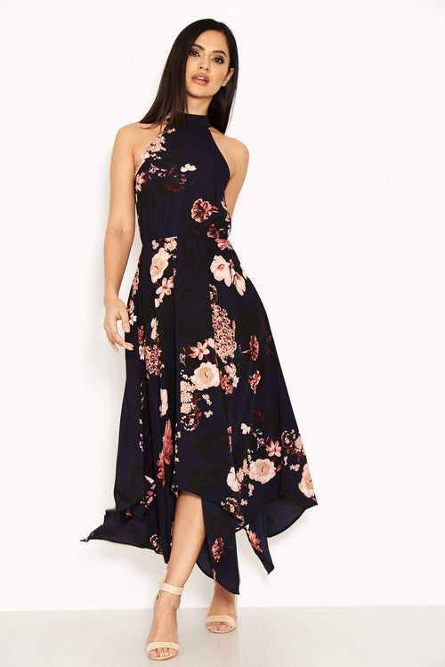 Navy Floral Print Choker Midi Dress