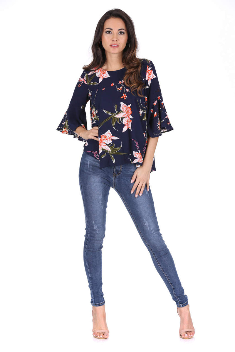 Navy Floral Print Flared Blouse