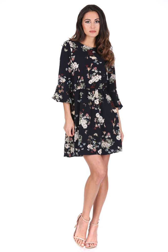 Navy Floral Print Frill Sleeve Dress