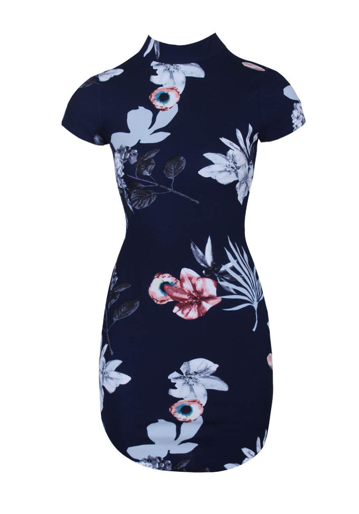 Navy Floral Print High Neck Mini Dress