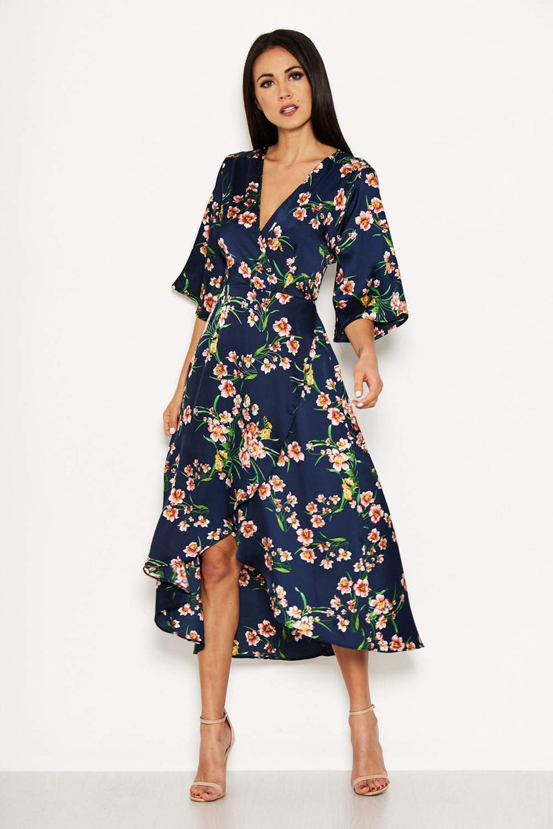 Navy Cold Shoulder Floral Wrap Midi Dress
