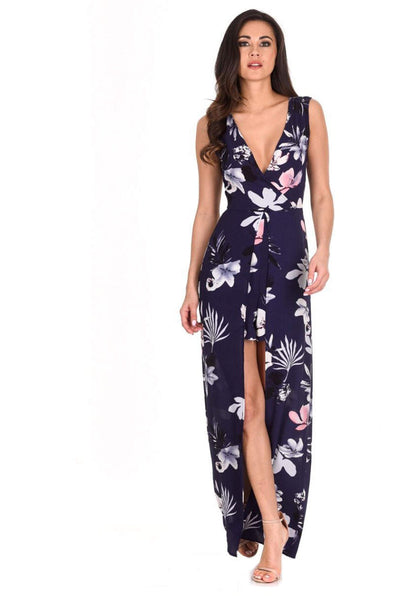 Navy Floral Print Wrap Skirt Playsuit