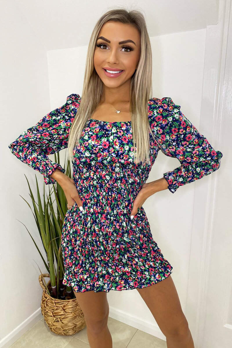 Navy Floral Printed Shirred Bodycon Dress