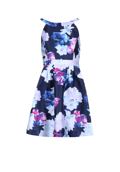 Navy Floral Printed Skater Dress With Elasticated Back