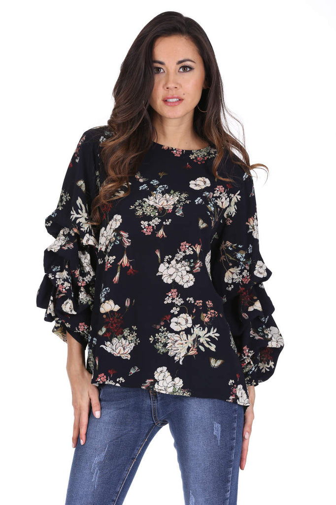 Navy Floral Ruched Sleeved Top
