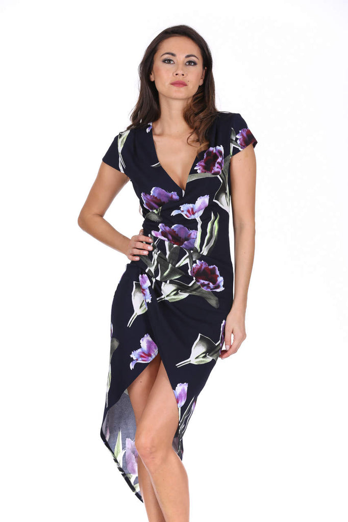 Navy Floral Side Split Midi Dress