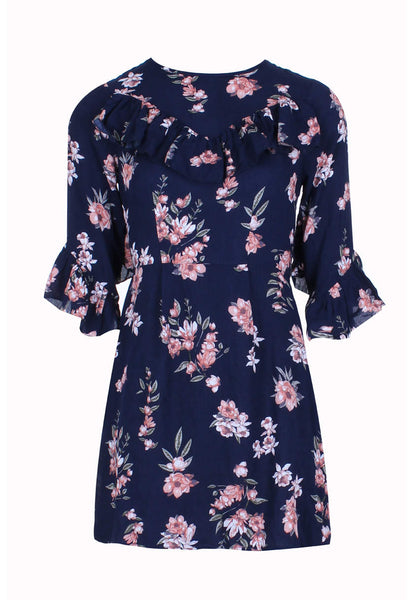 Navy Floral Skater Dress With V-Front Frill