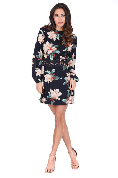 Navy Floral Sleeved Crochet Detail Dress
