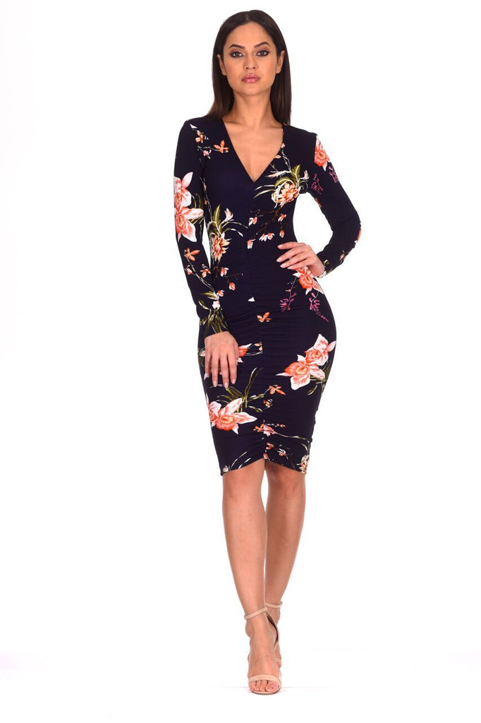 Navy Floral Sleeved Midi Dress