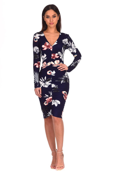 Navy Floral Sleeved Ruched Detailing Midi Dress