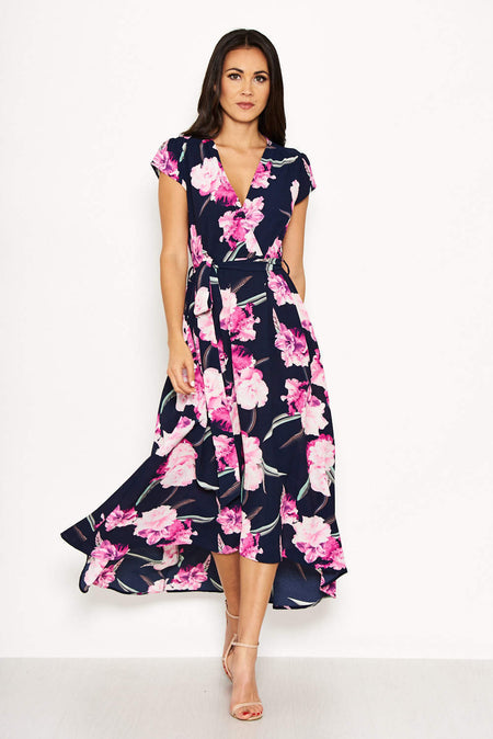 Navy Floral Print Choker Maxi Dress