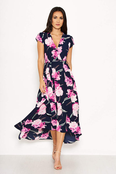 Navy Floral Tie-Waist Dress