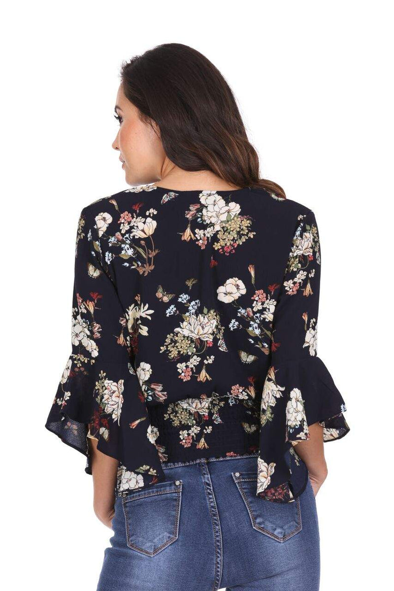 Navy Floral Wrap V Neck Top