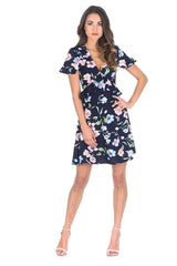 Navy Floral Frill V Neck Dress