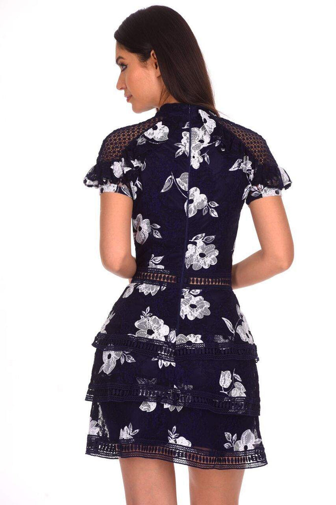 Navy Flower Detail Lace Dress