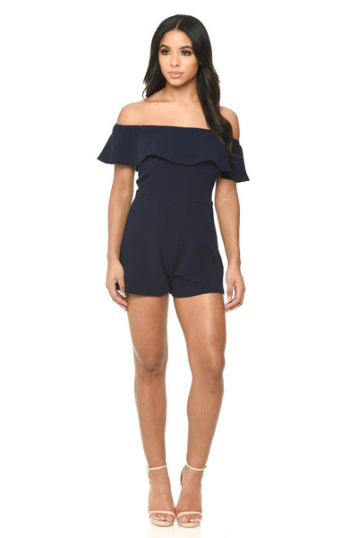 Navy Frill Bardot Playsuit