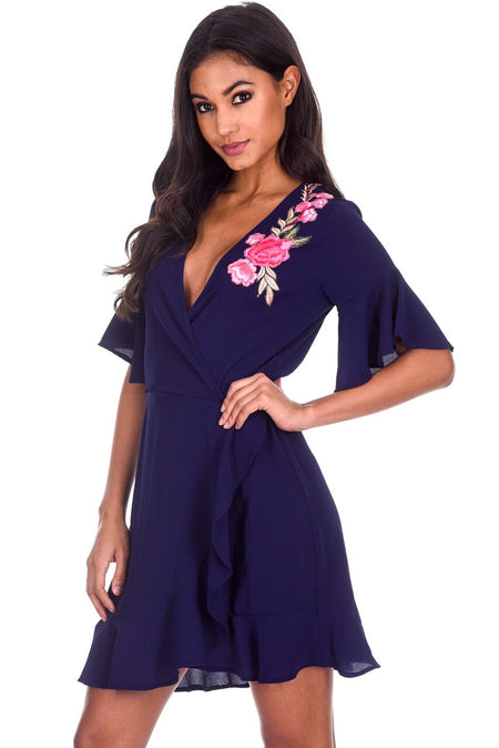 Navy Floral Printed Dipped Back Dress