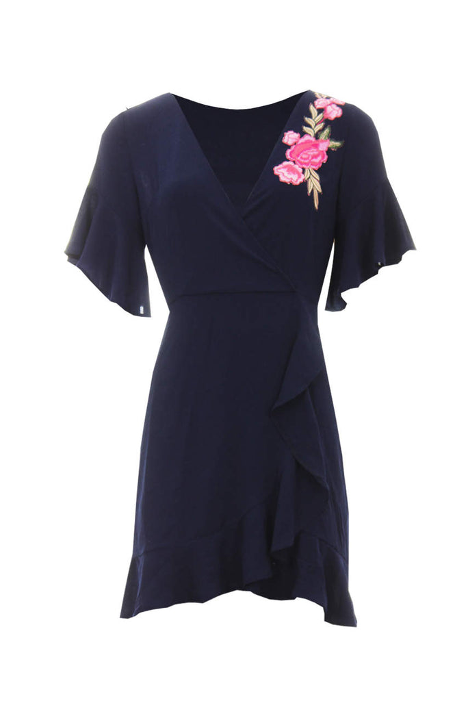 Navy Frill Floral Embroidery Dress
