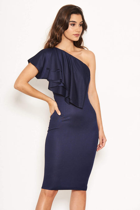 Navy Boat Neck Dress With Ruched Detail
