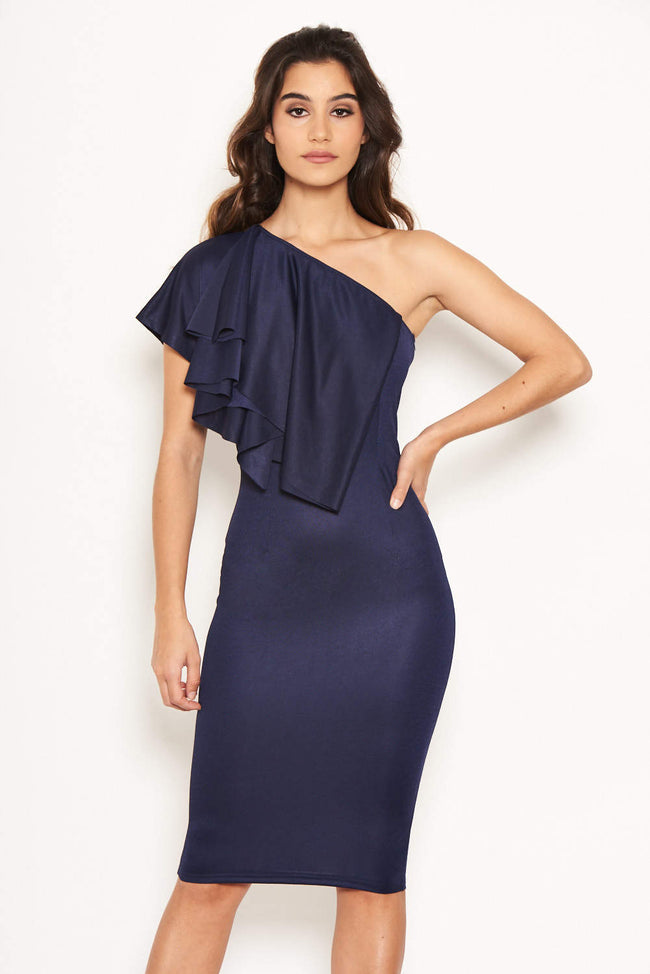 a1f820d1bc Navy Frill Front Bodycon Dress
