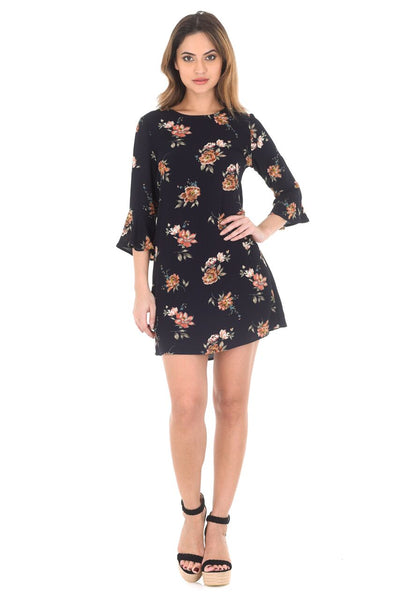 Navy Frill Sleeve Floral Printed Dress