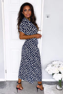 Navy Heart Print Short Sleeve Midi Dress