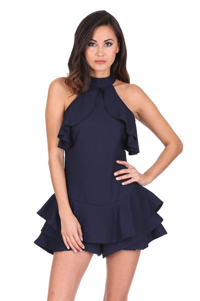Navy Choker Neck Frill Detail Playsuit