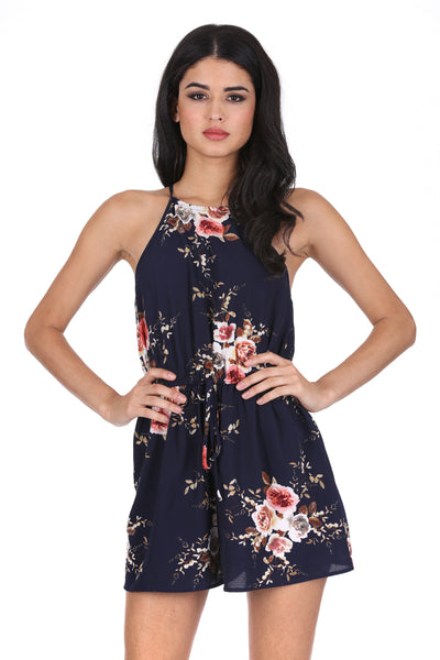 de685f935c4 Navy Floral High Neck Playsuit – AX Paris