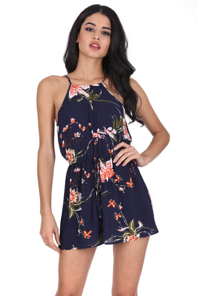 Navy High Neck Floral Print Playsuit