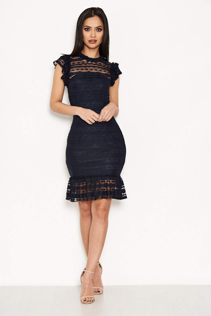 Navy High Neck Lace Frill Dress