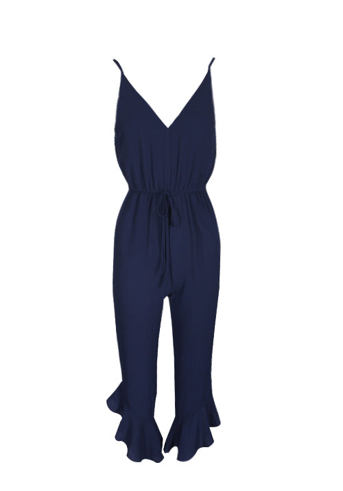 Navy High Waisted Jumpsuit With Frill Hem