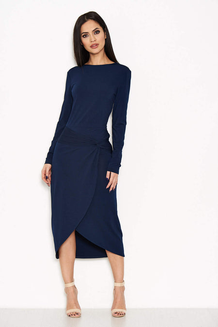 Navy Backless Fishtail Midi Dress