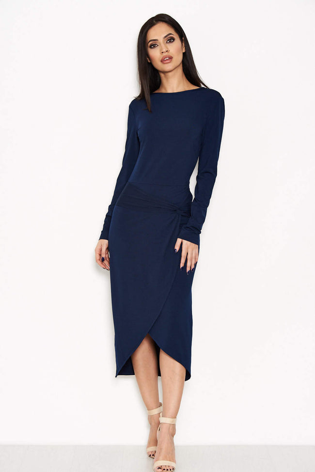 Navy Knot Front Bodycon Dress
