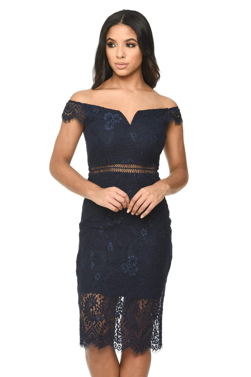 Navy Lace Bodycon Dress With Notch Front