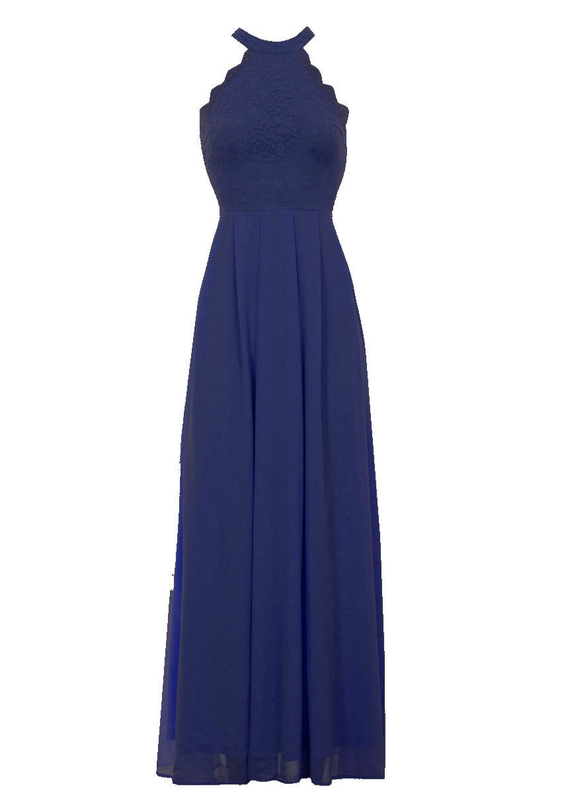 Navy Lace Choker Neck Maxi Dress