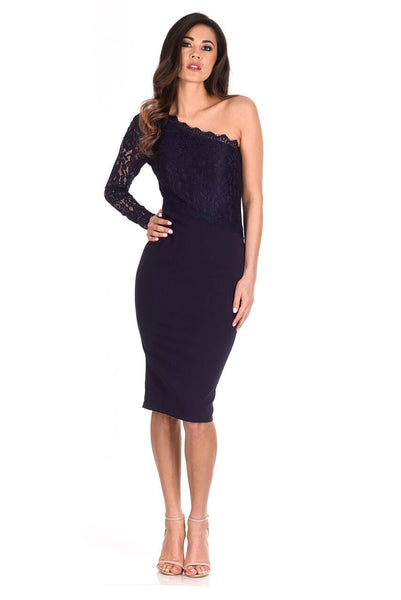 Navy Lace Detail Asymmetric Midi Dress