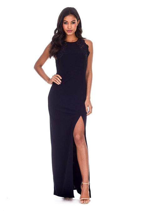 Navy Wrap V Neck Slit Maxi Dress