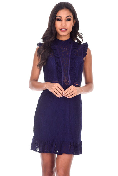 Navy Lace Frill Detail Dress